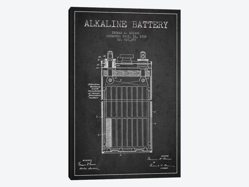 Alkaline Battery Charcoal Patent Blueprint by Aged Pixel 1-piece Art Print