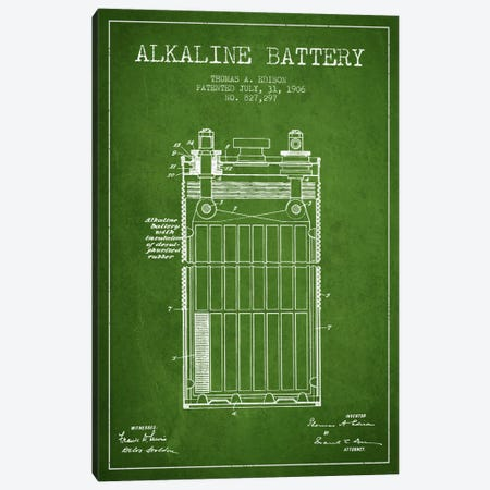 Alkaline Battery Green Patent Blueprint Canvas Print #ADP592} by Aged Pixel Art Print