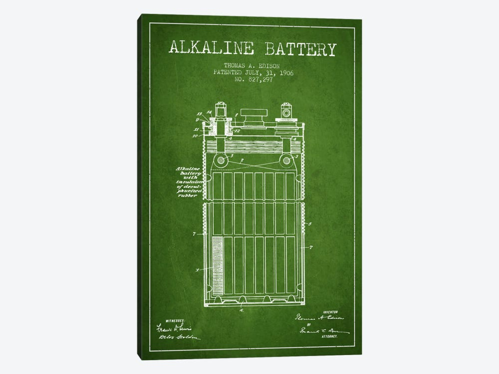 Alkaline Battery Green Patent Blueprint by Aged Pixel 1-piece Canvas Artwork