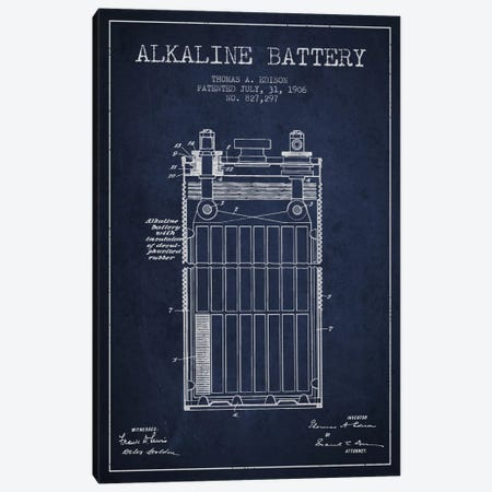 Alkaline Battery Navy Blue Patent Blueprint Canvas Print #ADP593} by Aged Pixel Canvas Print