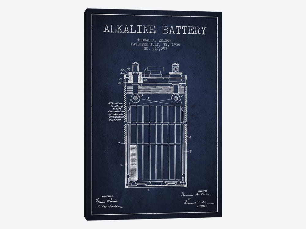 Alkaline Battery Navy Blue Patent Blueprint by Aged Pixel 1-piece Canvas Print