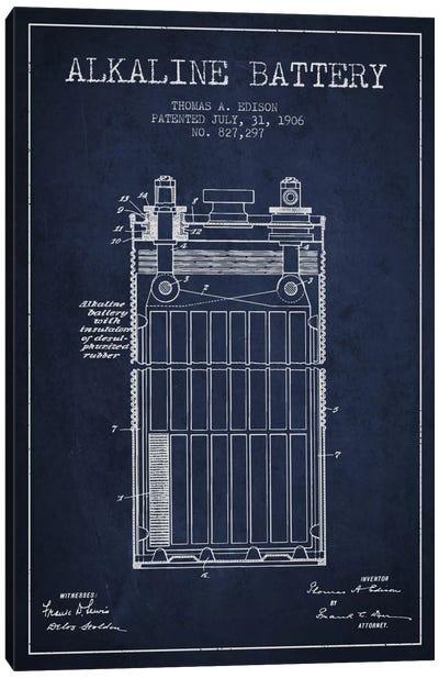 Alkaline Battery Navy Blue Patent Blueprint Canvas Art Print