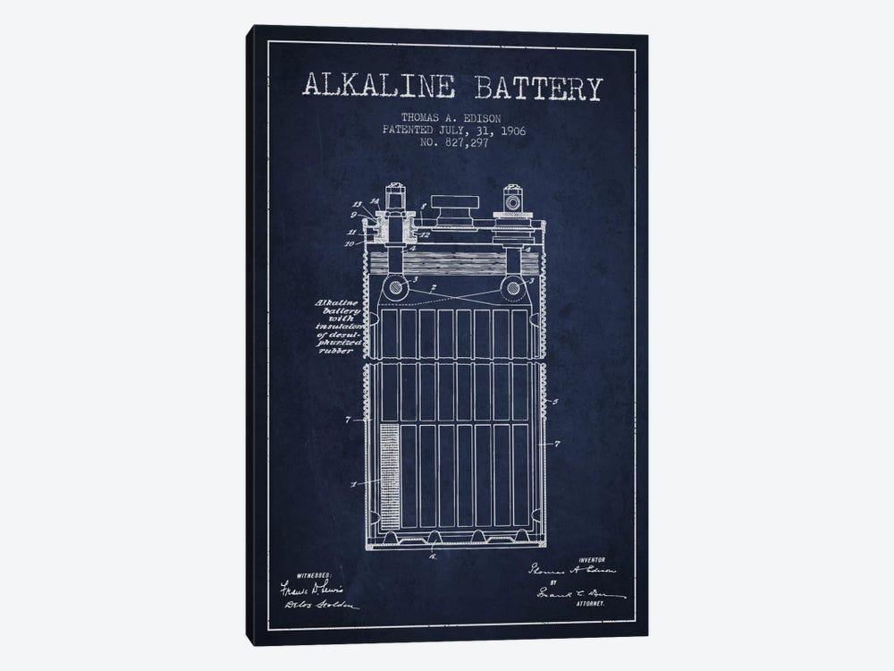 Alkaline Battery Navy Blue Patent Blueprint by Aged Pixel 1-piece Canvas Print