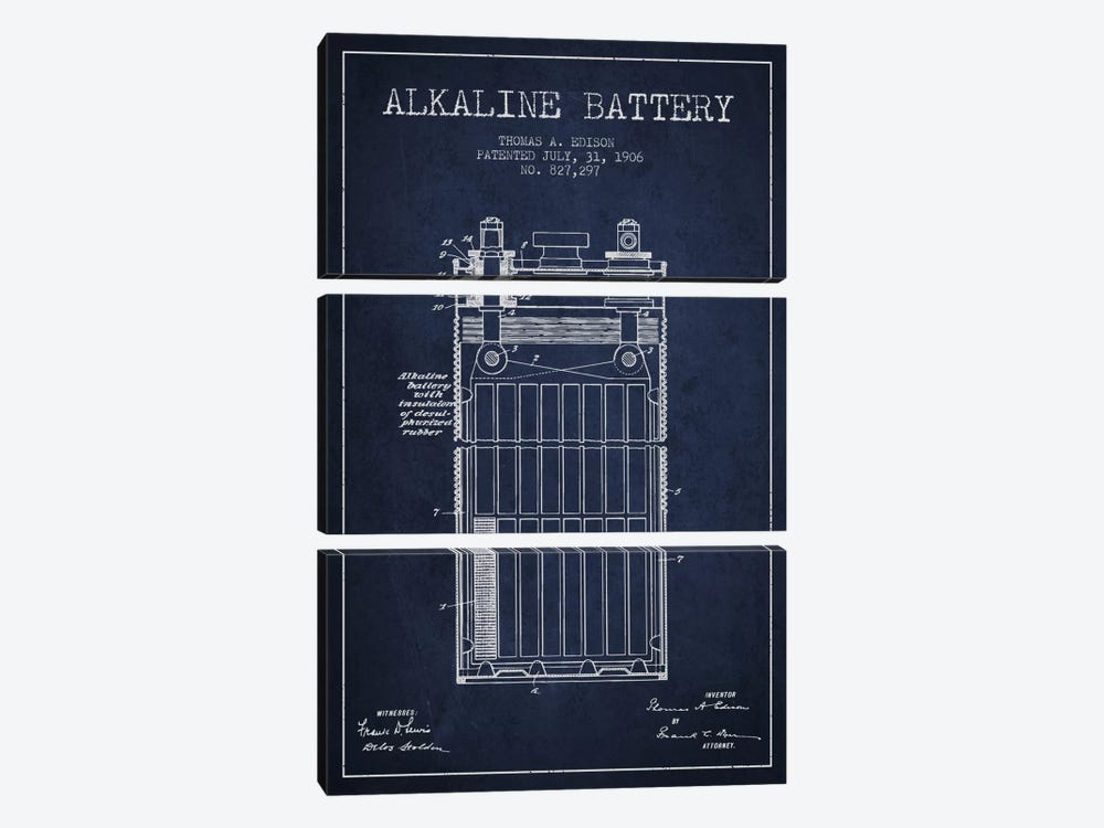 Alkaline Battery Navy Blue Patent Blueprint by Aged Pixel 3-piece Canvas Art Print