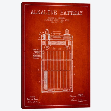 Alkaline Battery Red Patent Blueprint Canvas Print #ADP594} by Aged Pixel Canvas Art