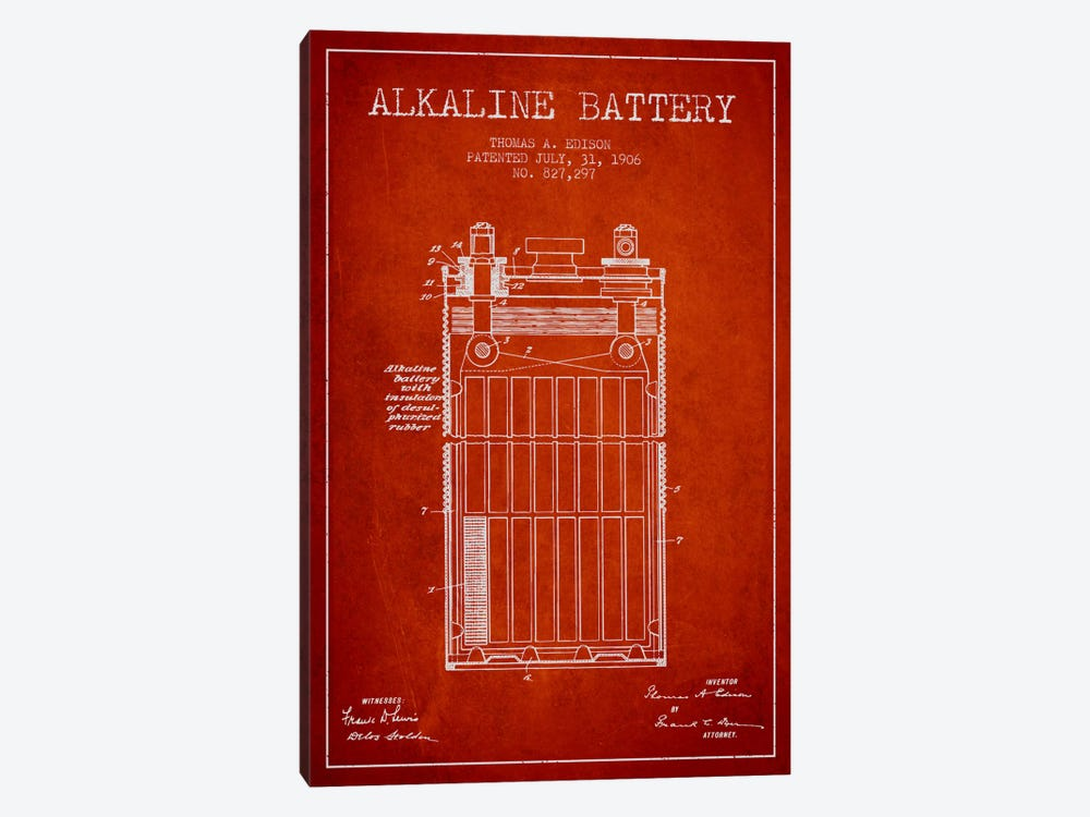 Alkaline Battery Red Patent Blueprint by Aged Pixel 1-piece Canvas Wall Art