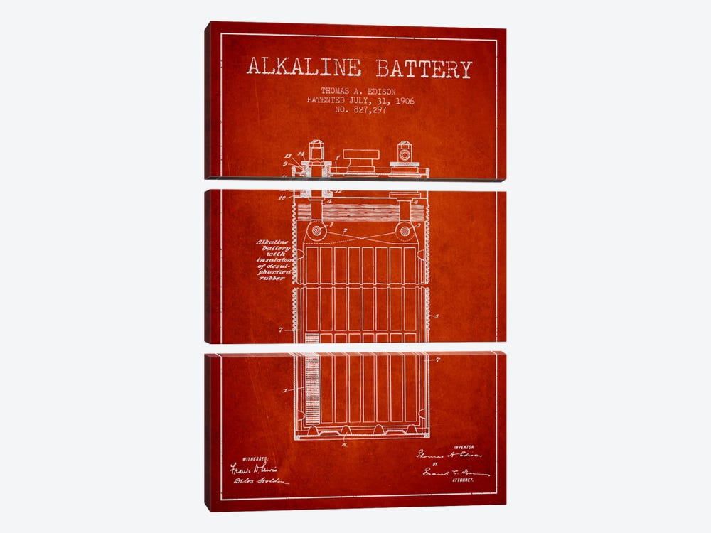 Alkaline Battery Red Patent Blueprint by Aged Pixel 3-piece Canvas Art