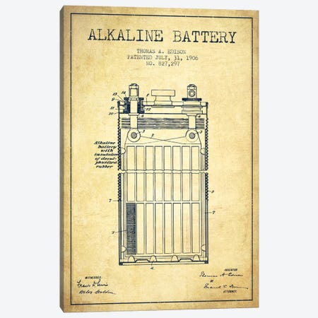 Alkaline Battery Vintage Patent Blueprint Canvas Print #ADP595} by Aged Pixel Canvas Wall Art