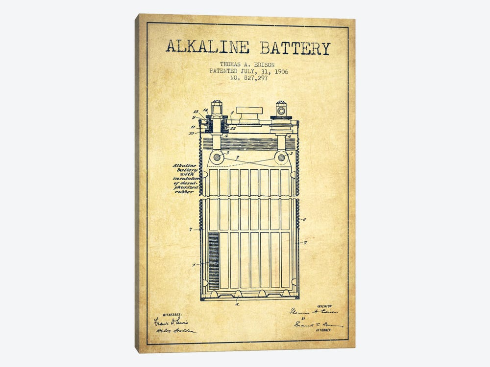 Alkaline Battery Vintage Patent Blueprint by Aged Pixel 1-piece Canvas Art Print