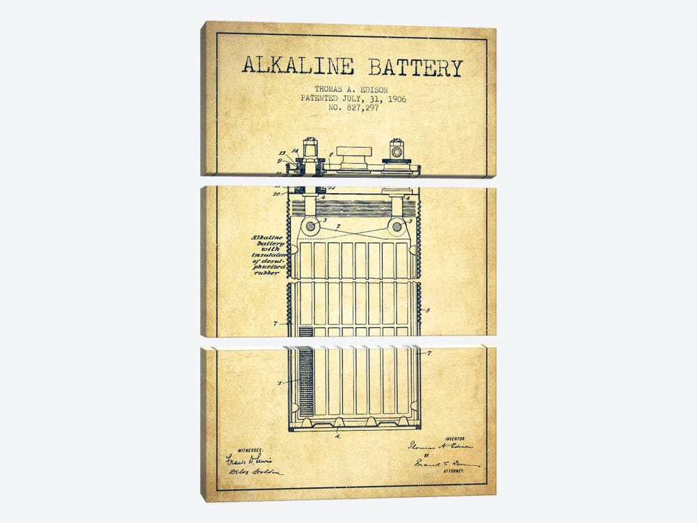 Alkaline Battery Vintage Patent Blueprint by Aged Pixel 3-piece Canvas Art Print