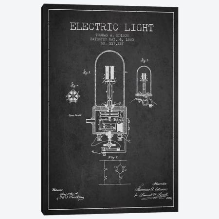 Electric Light Charcoal Patent Blueprint Canvas Print #ADP596} by Aged Pixel Canvas Art