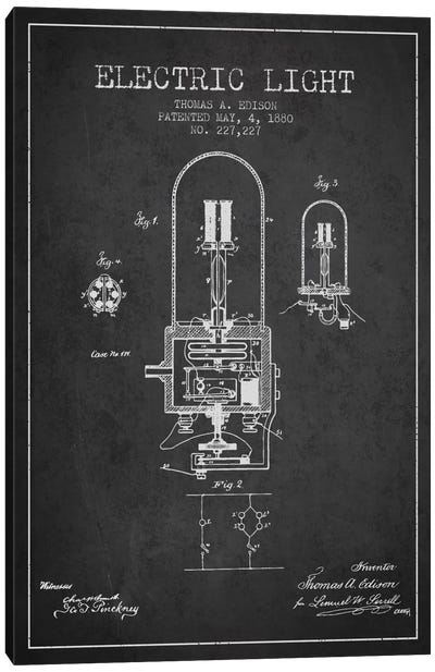 Electric Light Charcoal Patent Blueprint Canvas Art Print