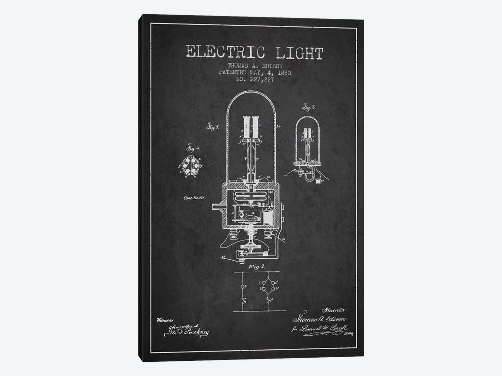 Electric Light Charcoal Patent Blueprint by Aged Pixel 1-piece Canvas Artwork