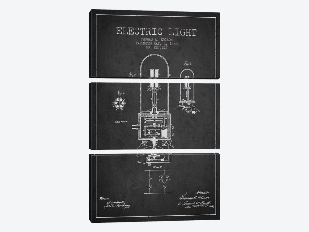 Electric Light Charcoal Patent Blueprint by Aged Pixel 3-piece Canvas Artwork