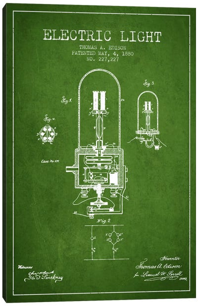Electric Light Green Patent Blueprint Canvas Art Print