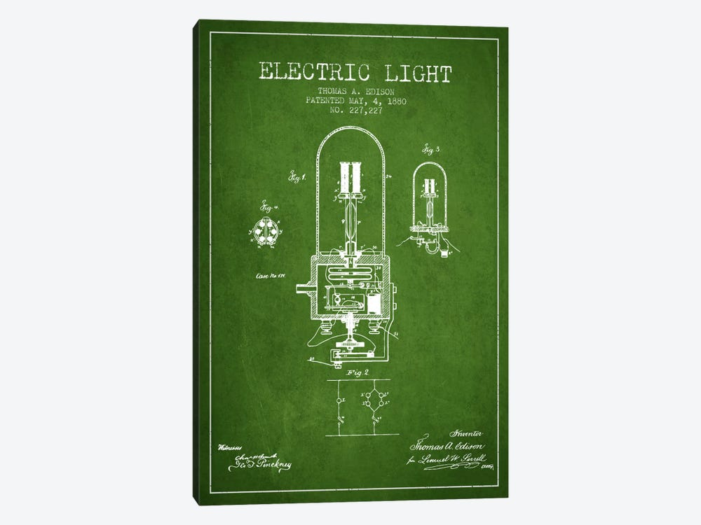 Electric Light Green Patent Blueprint by Aged Pixel 1-piece Canvas Art Print
