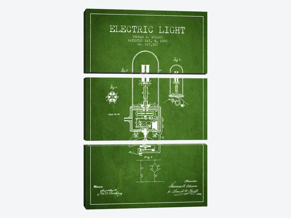Electric Light Green Patent Blueprint by Aged Pixel 3-piece Art Print