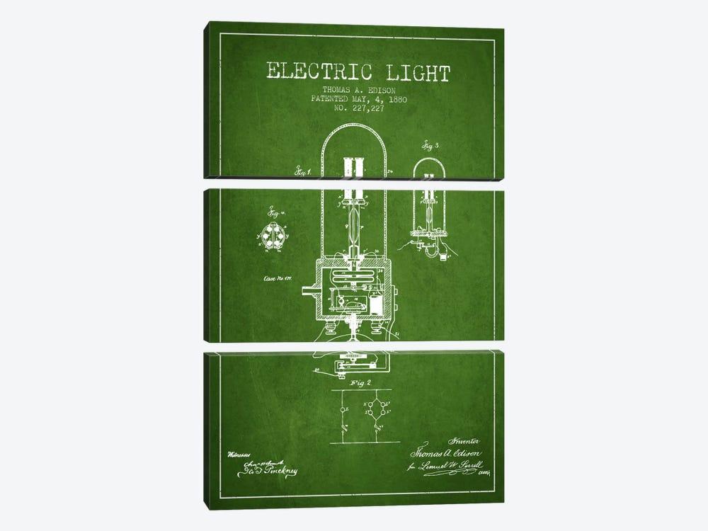 Electric Light Green Patent Blueprint by Aged Pixel 3-piece Art Print