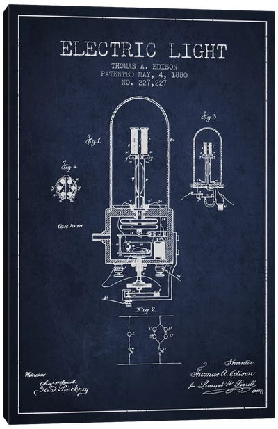 Electric Light Navy Blue Patent Blueprint Canvas Art Print