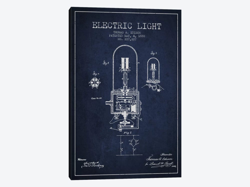 Electric Light Navy Blue Patent Blueprint 1-piece Canvas Artwork
