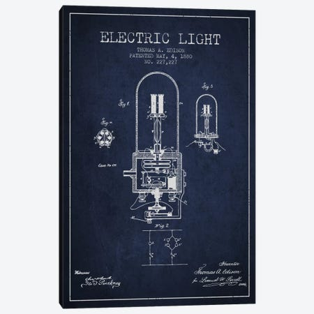 Electric Light Navy Blue Patent Blueprint 3-Piece Canvas #ADP598} by Aged Pixel Canvas Print
