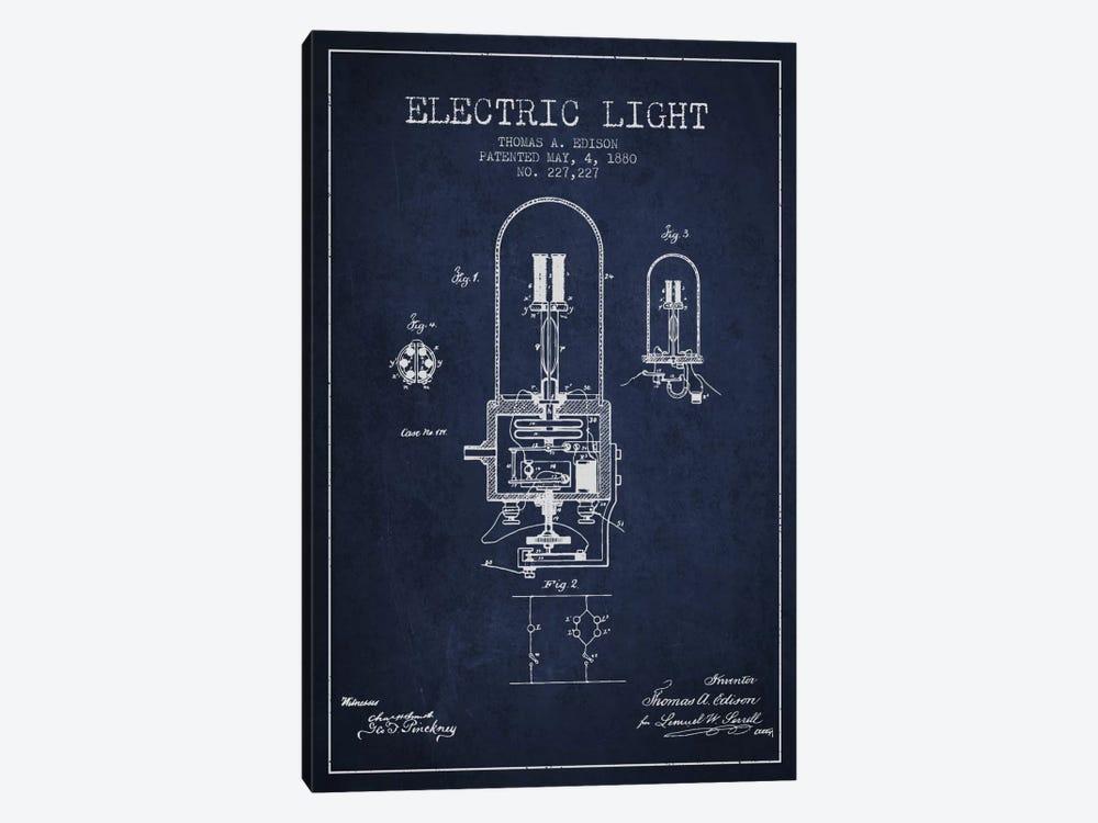 Electric Light Navy Blue Patent Blueprint by Aged Pixel 1-piece Canvas Artwork