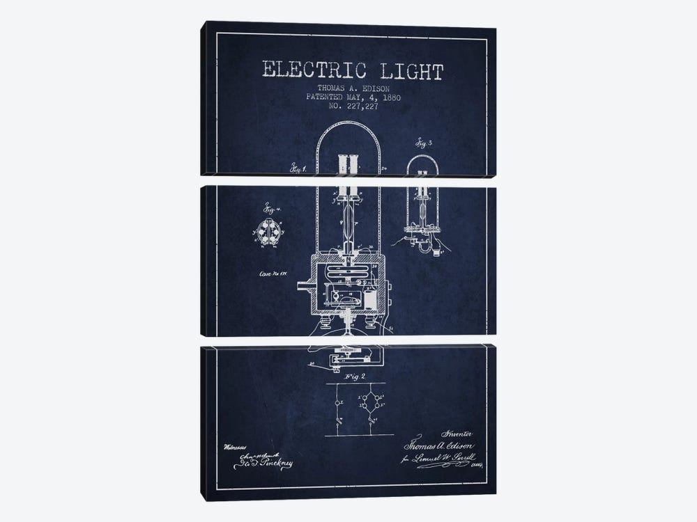 Electric Light Navy Blue Patent Blueprint by Aged Pixel 3-piece Canvas Art