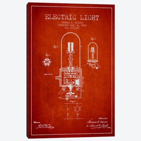 Electric Light Red Patent Blueprint Canvas Print #ADP599} by Aged Pixel Art Print