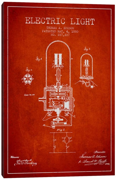Electric Light Red Patent Blueprint Canvas Art Print
