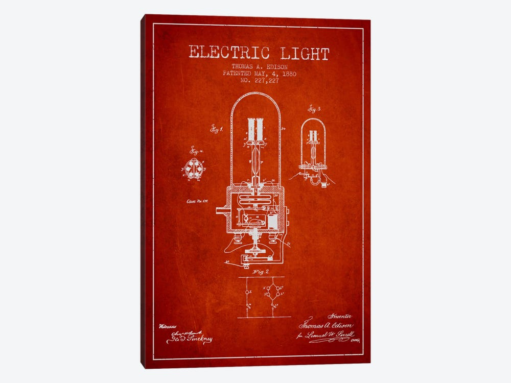 Electric Light Red Patent Blueprint by Aged Pixel 1-piece Canvas Art Print