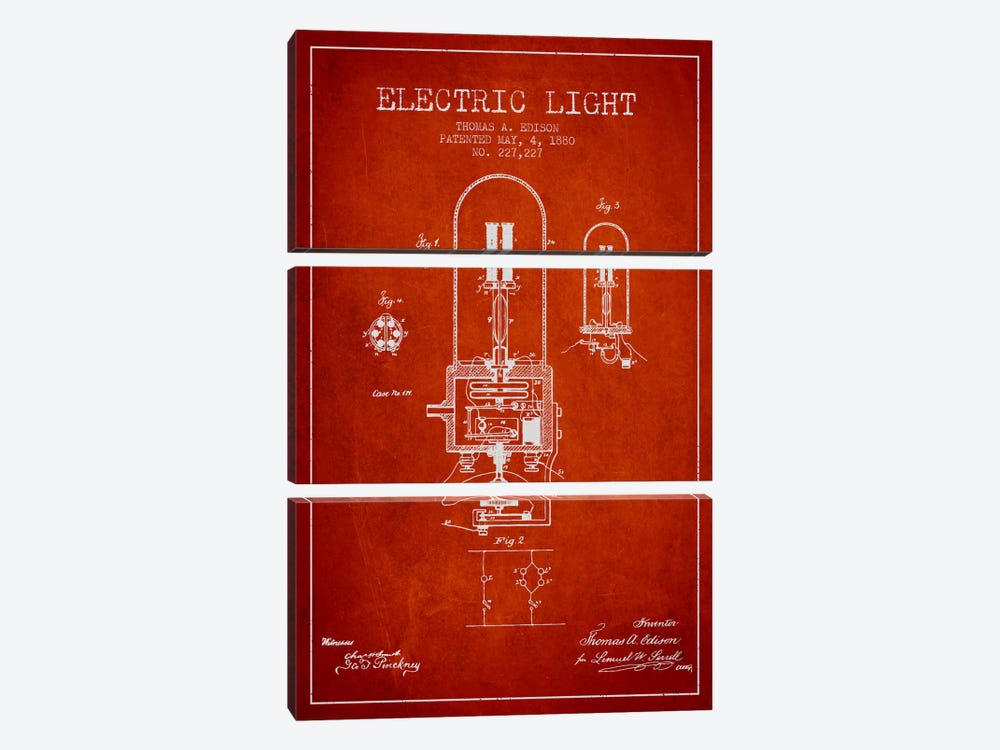 Electric Light Red Patent Blueprint by Aged Pixel 3-piece Canvas Art Print