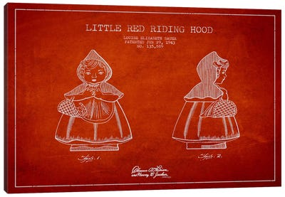 Little Red Riding Hood Red Patent Blueprint Canvas Print #ADP59