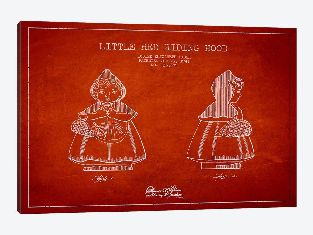 Little Red Riding Hood Red Patent Blueprint by Aged Pixel 1-piece Art Print