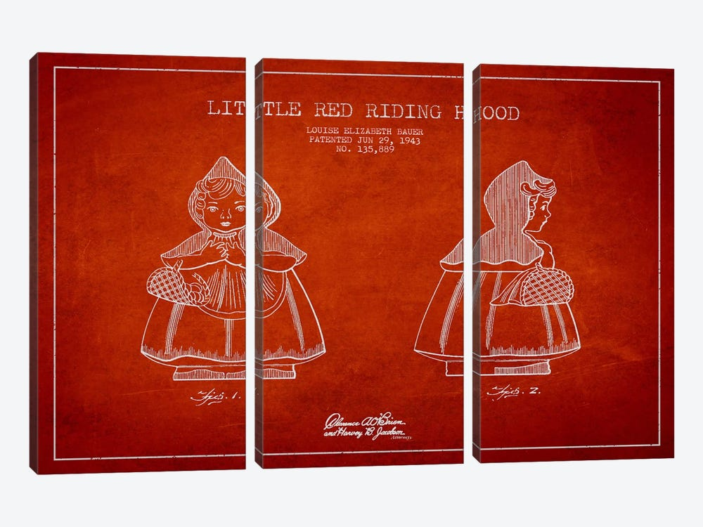 Little Red Riding Hood Red Patent Blueprint by Aged Pixel 3-piece Canvas Print