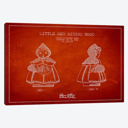 Little Red Riding Hood Red Patent Blueprint Canvas Print #ADP59} by Aged Pixel Canvas Art Print