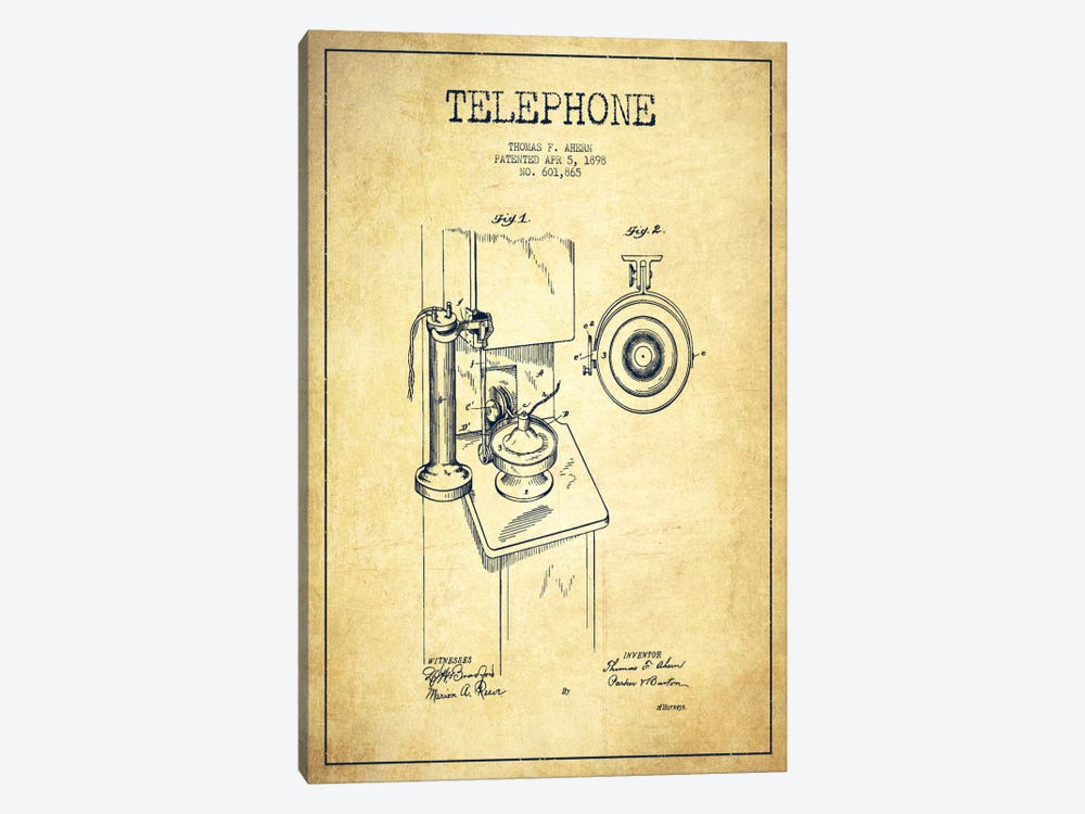 Ahern Telephone Vintage Patent Blueprint by Aged Pixel 1-piece Canvas Print