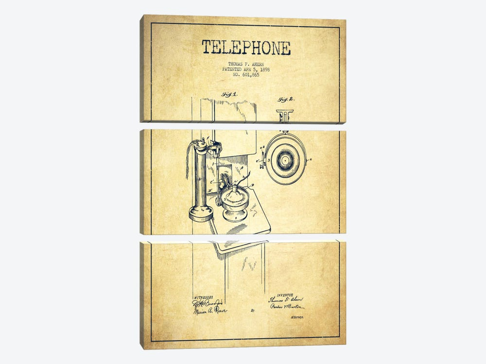 Ahern Telephone Vintage Patent Blueprint by Aged Pixel 3-piece Art Print