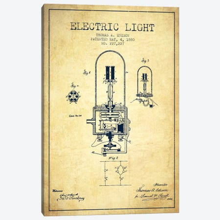 Electric Light Vintage Patent Blueprint Canvas Print #ADP600} by Aged Pixel Canvas Print