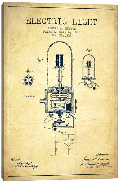 Electric Light Vintage Patent Blueprint Canvas Art Print