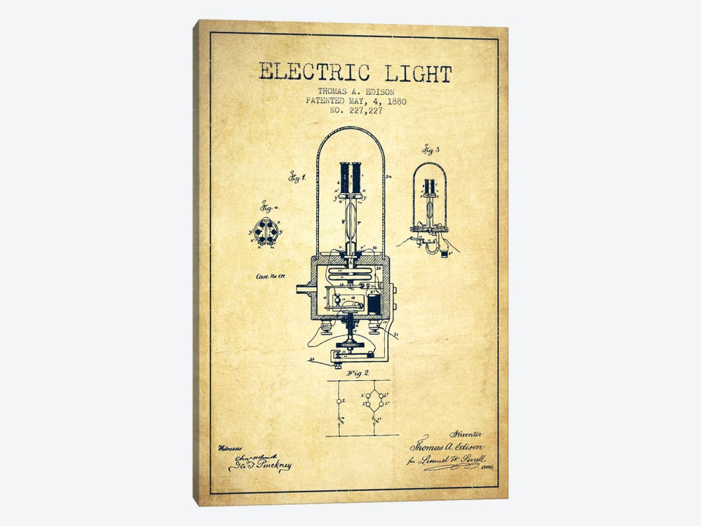 Electric Light Vintage Patent Blueprint by Aged Pixel 1-piece Canvas Art Print