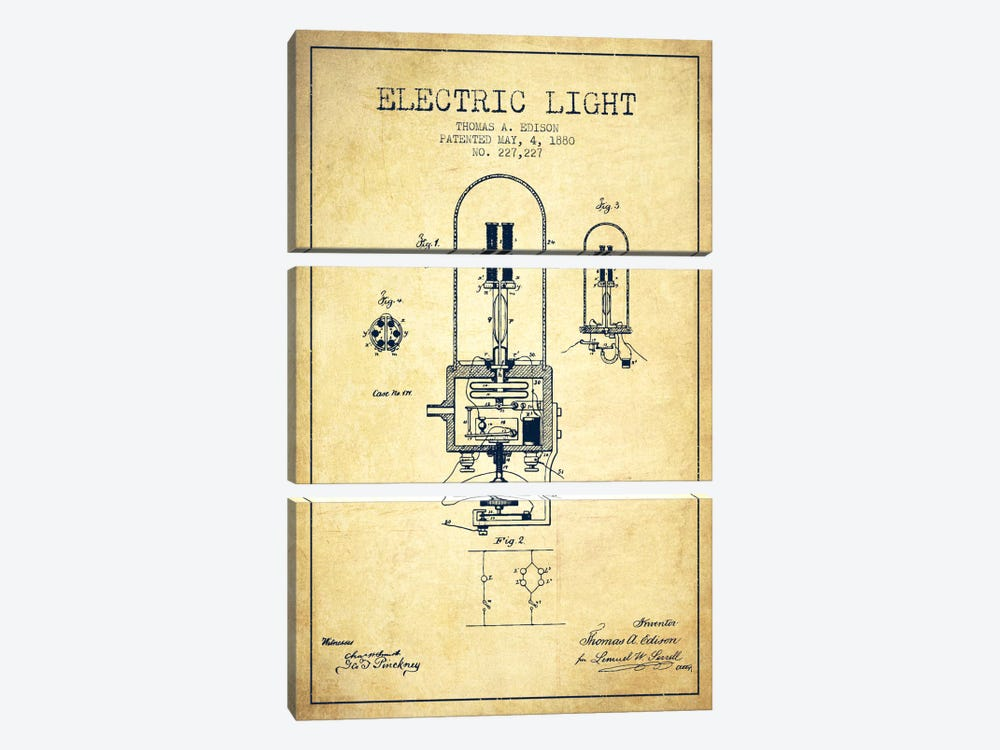 Electric Light Vintage Patent Blueprint by Aged Pixel 3-piece Canvas Print