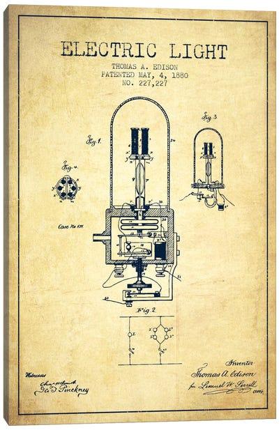 Electric Light Vintage Patent Blueprint Canvas Art Print