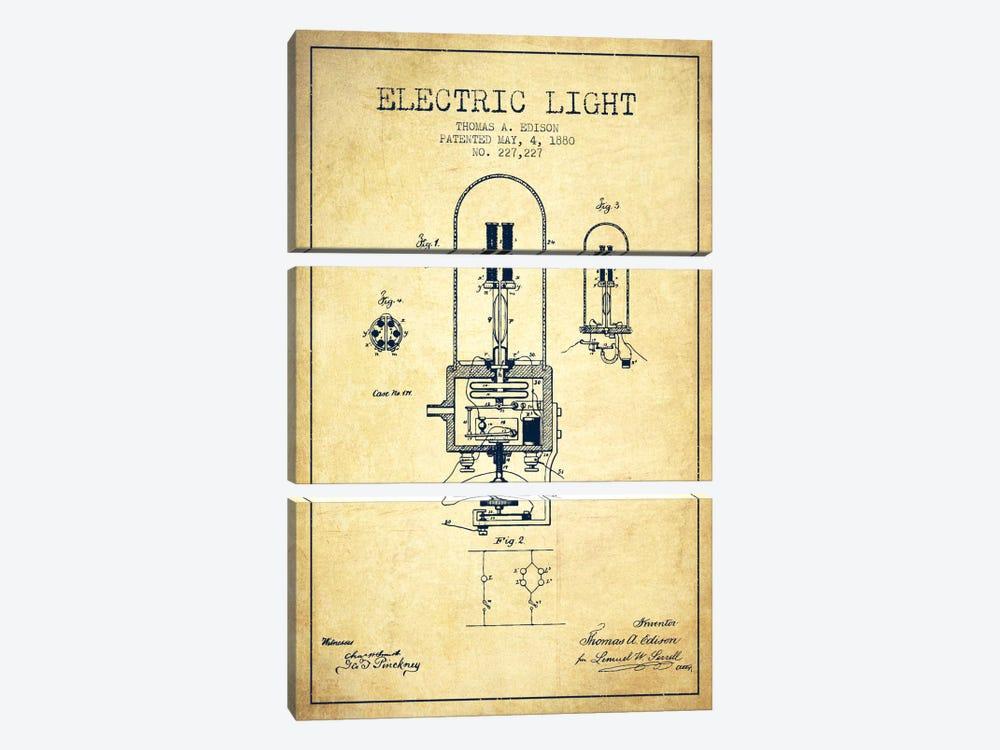 Electric Light Vintage Patent Blueprint by Aged Pixel 3-piece Canvas Print