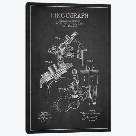 Phonograph Charcoal Patent Blueprint Canvas Print #ADP601} by Aged Pixel Art Print