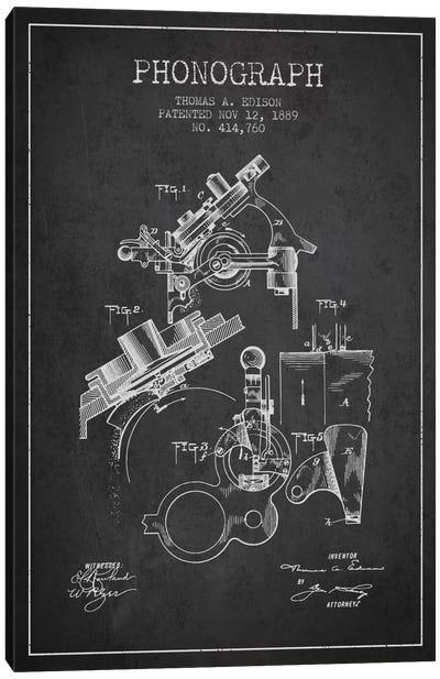 Phonograph Charcoal Patent Blueprint Canvas Print #ADP601