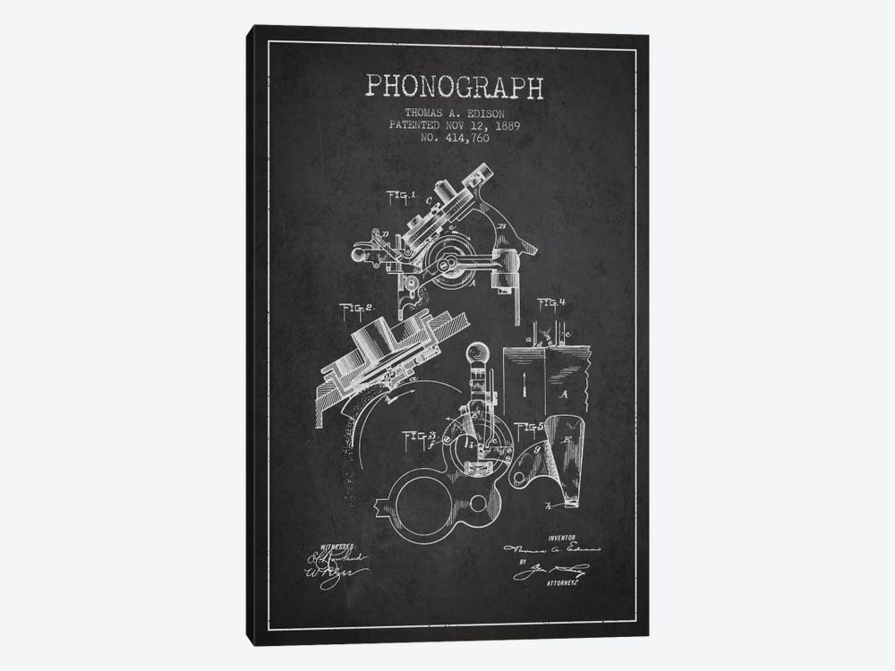 Phonograph Charcoal Patent Blueprint by Aged Pixel 1-piece Canvas Artwork