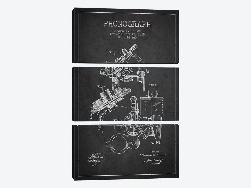 Phonograph Charcoal Patent Blueprint by Aged Pixel 3-piece Canvas Wall Art