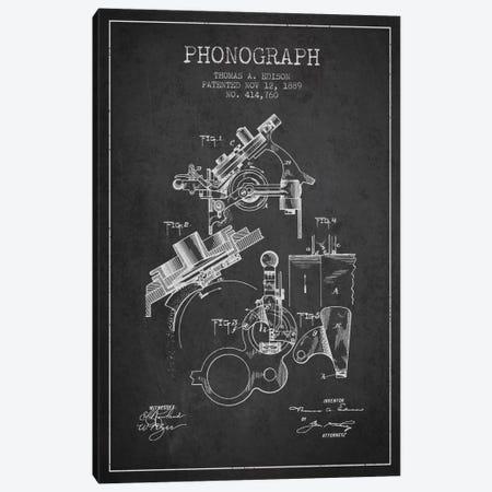 Phonograph Charcoal Patent Blueprint Canvas Print #ADP601} by Aged Pixel Art Print