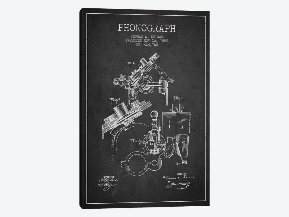 Phonograph Charcoal Patent Blueprint by Aged Pixel 1-piece Canvas Artwork