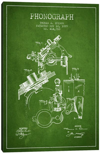 Phonograph Green Patent Blueprint Canvas Print #ADP602